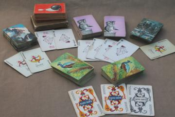Lot vintage playing cards w/ retro artwork & graphics for assemblage or altered art