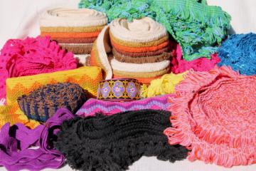 lot vintage sewing trim, funky retro yarn fringe wide braid popcorn tassel trims, boho style