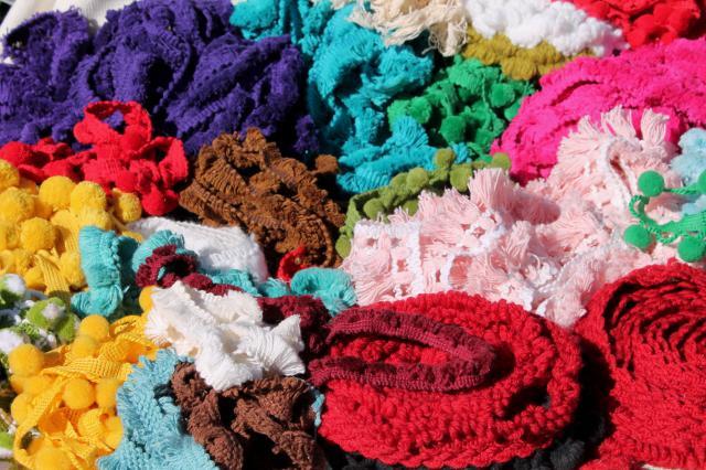 Lot Vintage Sewing Trim Funky Retro Yarn Fringe Wide