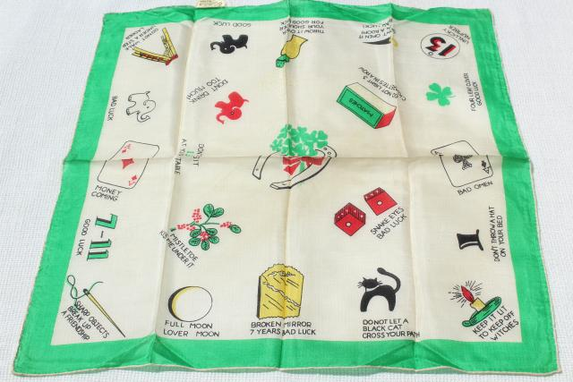 lot vintage silk fabric pocket square handkerchiefs, novelty print designer hankies