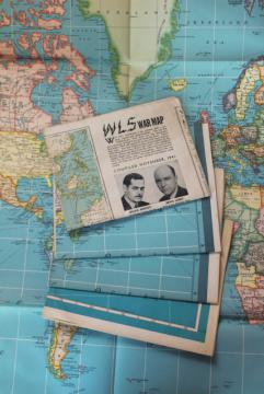 lot vintage wall maps, 1940s 1950s schoolroom size world map WWII military front map