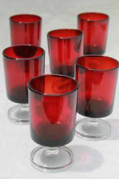 Luminarc ruby red / clear stemmed shots or vodka glasses, set of 6 shot glasses