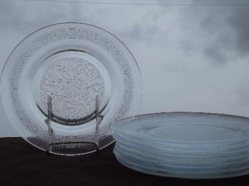 Macbeth-Evans clear glass leaf pattern plates, vintage set of 8