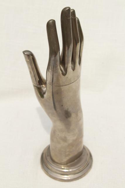 machine age vintage cast metal hand form, art deco glove or ring display gunmetal silver tone