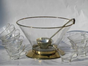 Mad men vintage mod glass punch set, brass stand bowl and flared cups