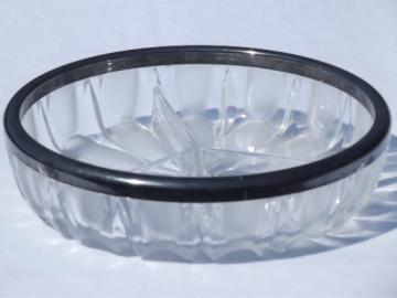 Mad men vintage  silver trimmed bowl, clear & frosted glass divided dish