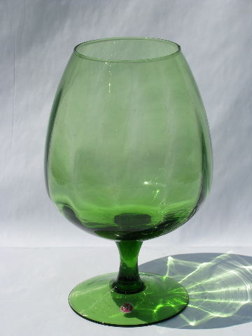 Made In Italy Label Vintage Green Glass Brandy Snifter Shape Vase