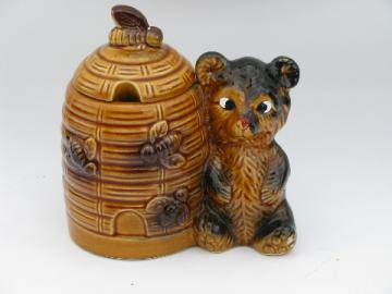 Made in Japan, vintage ceramic honey bear jam jar beehive pot