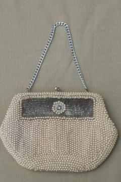 Made in Japan vintage evening bag, tiny purse covered in glass seed pearls