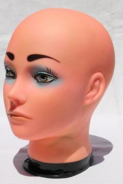 Mannequin head wig model photo prop, bald head girl w/ retro makeup