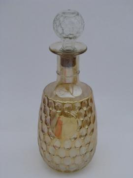 Marigold carnival luster glass vintage decanter with stopper