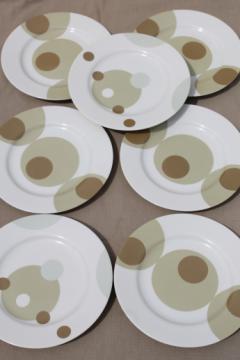 Marketplace Japan mod china, olive green & tan dots & circles on white plates