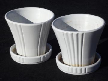 Matte white glaze Abingdon pottery flower pots, vintage planters pair