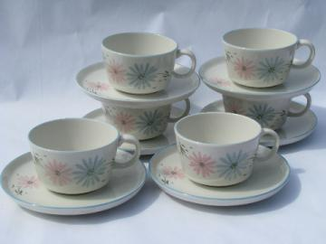 Maytime Franciscan china cups and saucers, may time blue and pink flowers