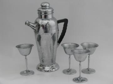 MCM mad men vintage chrome martini glasses, cocktail shaker pitcher