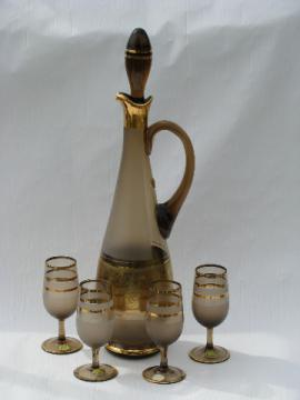 MCM retro smoke glass vintage Bohemia crystal decanter bottle / glasses