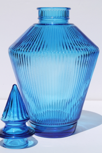 Mcm Vintage Blue Glass Decanter Bottle Amp Stopper Prismatic Ribbed Glass Apothecary Jar