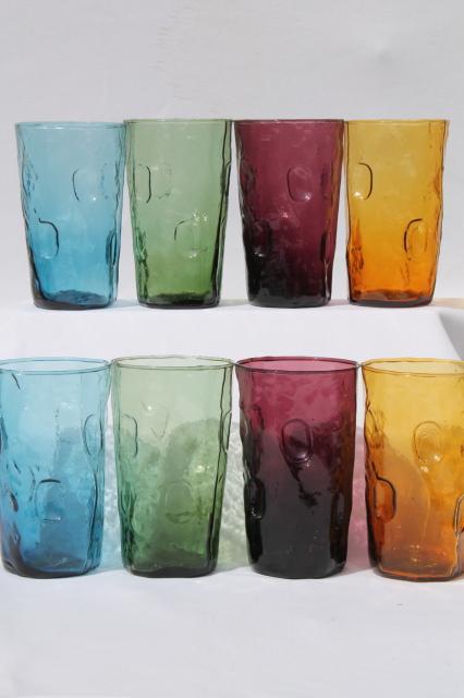 Mcm Vintage Decatur Crinkle Glass Tumblers Set Of