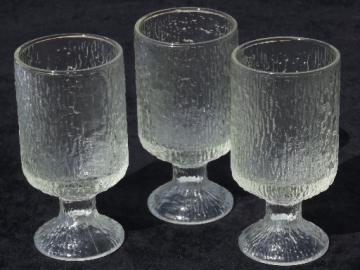 MCM vintage  ice textured glasses, heavy glass water goblets, Iittala?