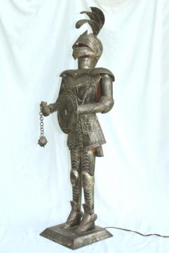 medieval knight armor, vintage art metal tall statue / night light lamp