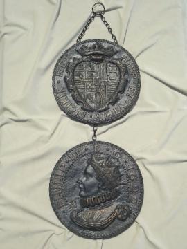 Medieval Spanish coins wall art hanging, 60s vintage gothic style plaques