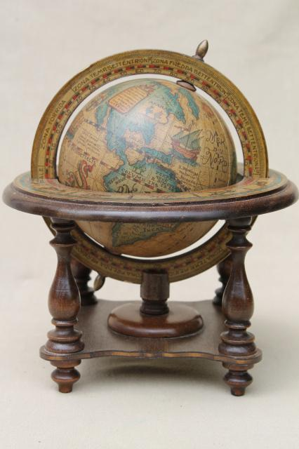 medieval style astrolabe sphere, decorative wood globe, 60s vintage desk  accessory - Medieval Style Astrolabe Sphere, Decorative Wood Globe, 60s Vintage