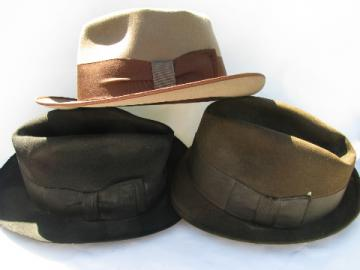 Men's vintage fur felt hats lot, Royal Stetson, Mallory fedora
