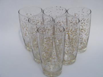 Metallic gold spangle flecked spatter pattern glasses, mid-century mod vintage