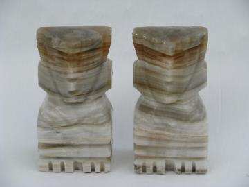 Mexican onyx carved stone book ends, retro Aztec design