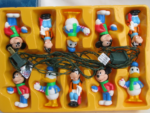 Mouse, Donald Duck, Goofy figural character Christmas lights