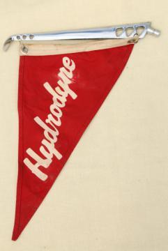 mid century Hydrodyne speedboat pennant flag Crosby vintage ski boat or runabout