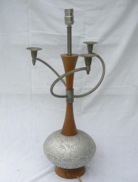 Mid century boomerang FAIP art ceramic lamp and candelabrum Mad Men vintage