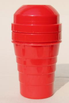 mid century mod Shel - Glo lipstick red plastic cocktail shaker mixer w/ juice reamer