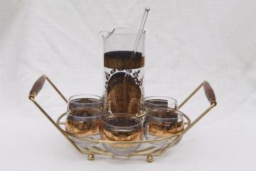mid century mod vintage cocktail caddy rack w/ pitcher, roly poly glasses