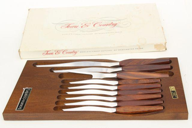 mid century modern vintage Fleetwood Washington Forge stainless steak knives carving set