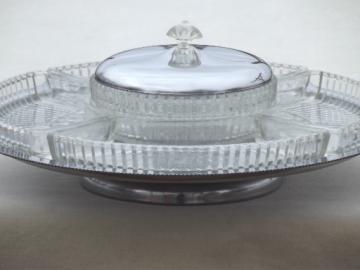 Mid century modern vintage chrome & glass lazy susan relish set, 50s retro!