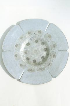 mid century modern wrought aluminum serving tray, large round plate w/ daisies or mums