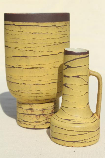 Mid Century Vintage West Germany Art Pottery Vases Yellow Birch