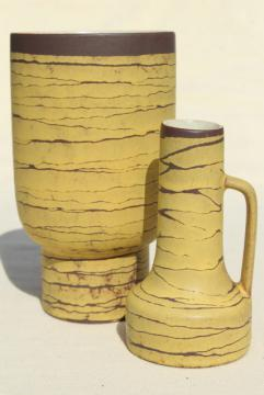 mid century vintage West Germany art pottery vases, yellow birch tree bark mod design