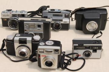 mid century vintage camera lot, mixed collection retro cameras Kodak, Minolta etc.