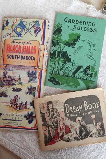 mid century vintage travel brochures, maps, collectible paper, retro tourist ephemera