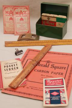mid-century industrial vintage school desk or office supplies lot, metal file box etc.