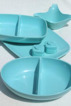 mid-century mod Brookpark melmac dishes, retro aqua turquoise blue vintage melamine