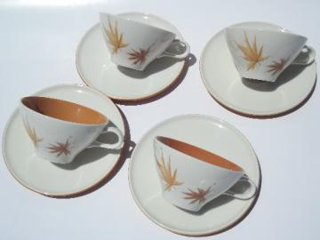 Mid-century mod Ben Siebel Iroquois pottery Harvest Time cups and saucers