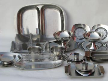Mid-century mod danish modern vintage stainless candleholders, serving pieces