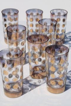 Mid-century mod drinking glasses, vintage Sinclair Glama glass designed by Dorothy Thorpe