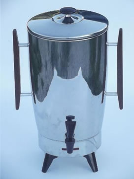 Mid-century mod electric coffee percolator, 40 cup stainless coffee pot