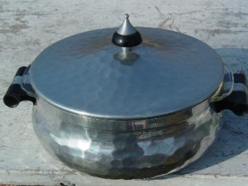 Mid-century mod hammered aluminum covered dish, Spain