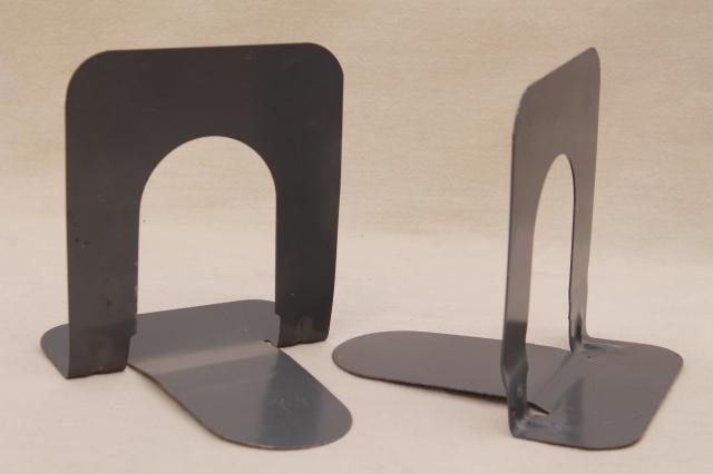 mid-century mod metal bookends, 50s 60s vintage steelcase style industrial modern book ends