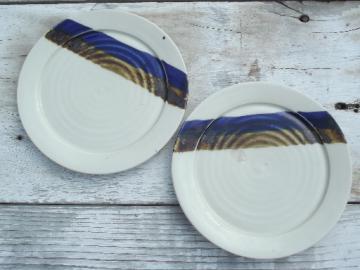 Mid-century mod Scandinavian modern pottery, blue brown stoneware plates